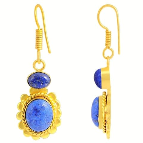 Lapis Lazuli Brass Oval Dangle Earrings by Fashionablez