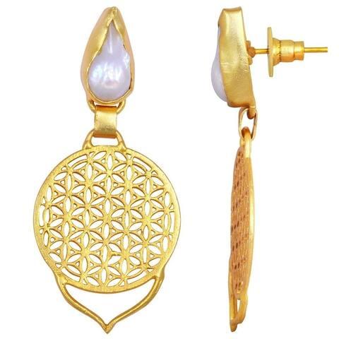 Pearl Brass Fancy Dangle Earrings by Orchid Jewelry