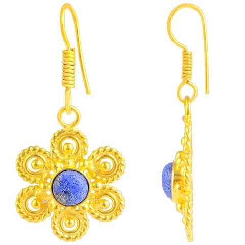 Lapis Lazuli Brass Round Dangle Earrings by Fashionablez