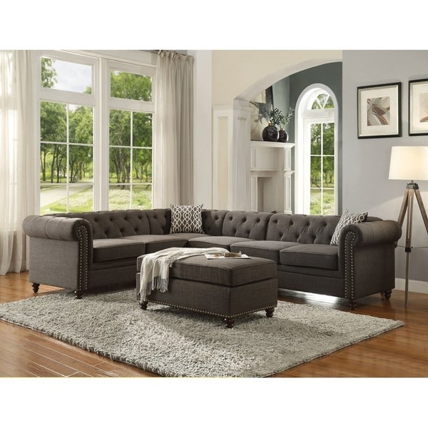 Shop Virbalis Sectional Sofa With Ottoman Upholstered In Charcoal