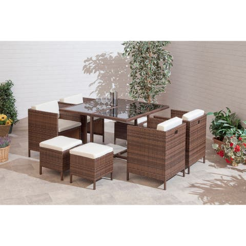 Sumtime Outdoor Living 9 Piece Contemporary Modern Quebec Cube Collection with 4 Chairs & Stools Conversation Set