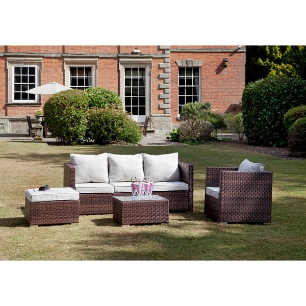 Suntime Outdoor Living 4 Piece Contemporary Modern Chepstow Chaise Collection Rattan Frame with Chair Conversation Set
