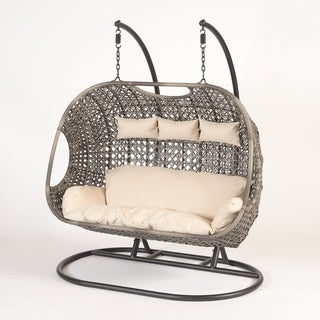 Suntime Outdoor Living Brampton PVC Wicker/Steel Triple Cocoon Chair with Cushion