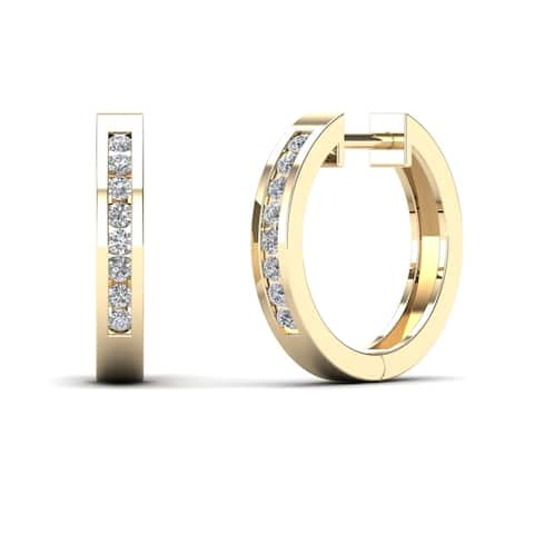AALILLY 10k Yellow Gold 1/6ct TDW Diamond Round Hoop Earrings (H-I, I1-I2)