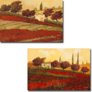 Papaveri Toscana (Tuscan Poppies) I & II by Guido Borelli 2-pc Gallery Wrapped Canvas Giclee Art Set (Ready to Hang)
