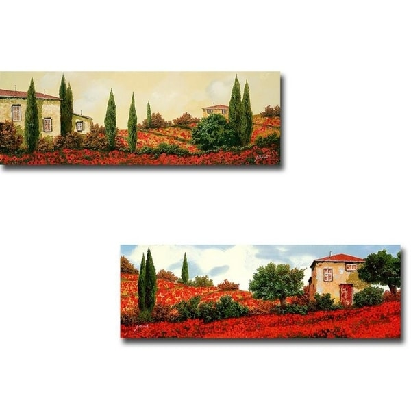 Tre Case Tra I Papaveri & I Papaveri Sulle Colline by Guido Borelli 2-pc Gallery Wrapped Canvas Giclee Art Set (Ready to Hang)