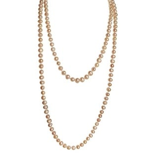 Long Strand Pink Potato Pearls - 45 Inches