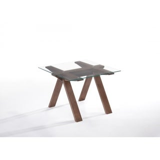 Square Glass Table Top End Table with Inverted V Shaped Wooden legs, Walnut Brown