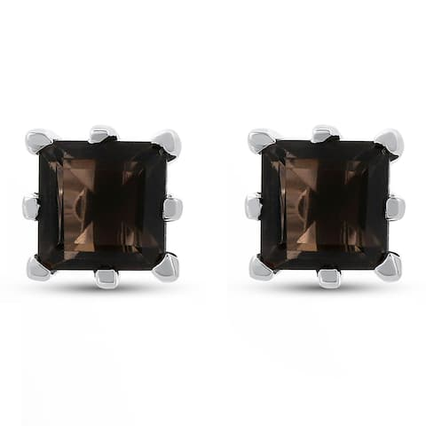 2.10 Carat Genuine Smoky Quartz Stud Earrings in .925 Sterling Silver