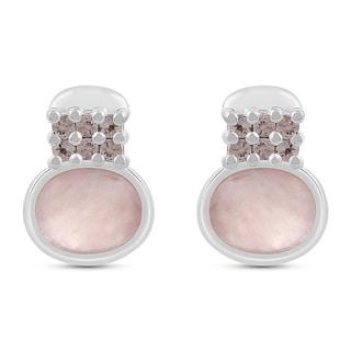 3.17 Carat Genuine Rose Quartz Stud Earrings in .925 Sterling Silver