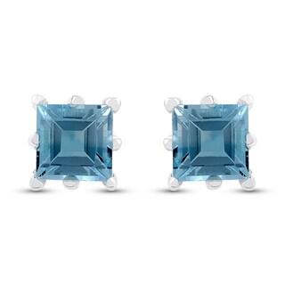 2.10 Carat Genuine Blue Topaz Stud Earrings in .925 Sterling Silver