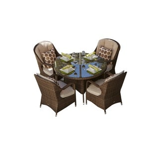 Moda 5 Piece Patio Wicker Dining Table Set with Cushions