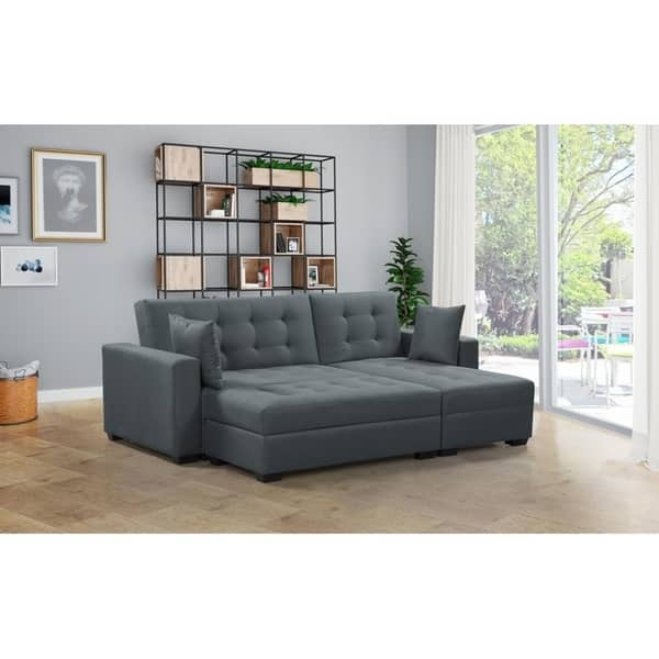Shop BroyerK 3 pc Reversible Sectional Sleeper Sofa Bed ...