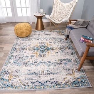 The Curated Nomad Sunset Blue Distressed Bohemian Rug