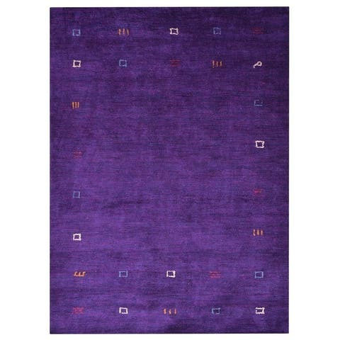 Hand Knotted Gabbeh Silk Contemporary Area Rug - 5' x 8'