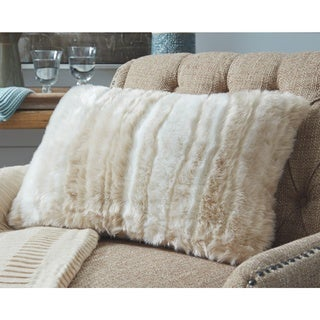 Amoret Tan Faux Fur Throw Pillow