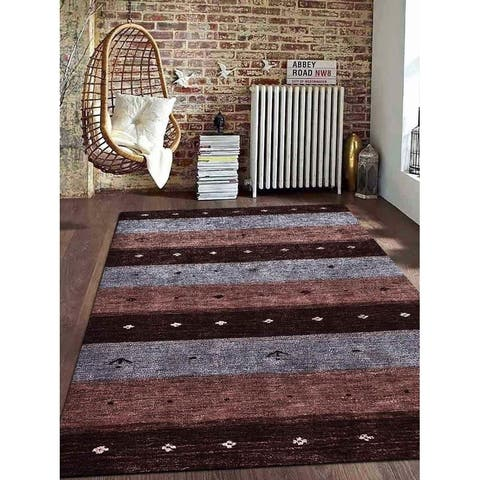Hand knotted Gabbeh Silk Contemporary Area Rug - 6' x 9'