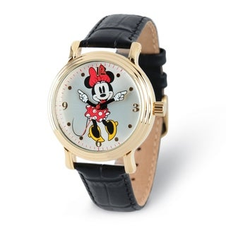 Versil Disney Adult Size Black Strap Minnie Mouse with Moving Arms Watch
