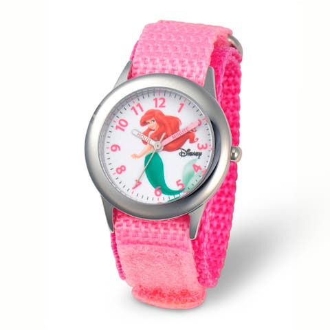 Disney Kids Ariel Pink Strap Time Teacher Watch by Versil