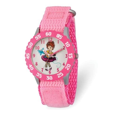 Disney Kids Fancy Nancy Pink Nylon Band Time Teacher Watch by Versil