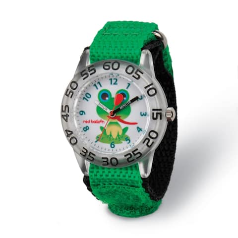 Red Balloon Kids Green Froggy Acrylic Time Teacher Watch by Versil