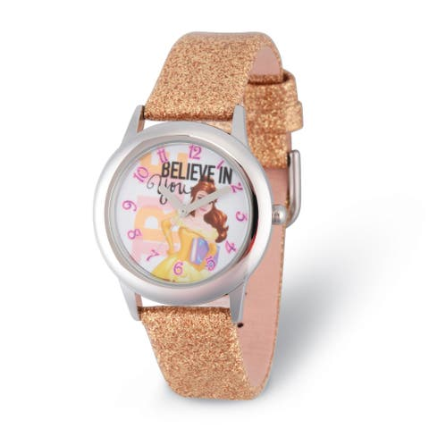 Disney Kids Belle Believe in You Golden Strap Tween Watch by Versil