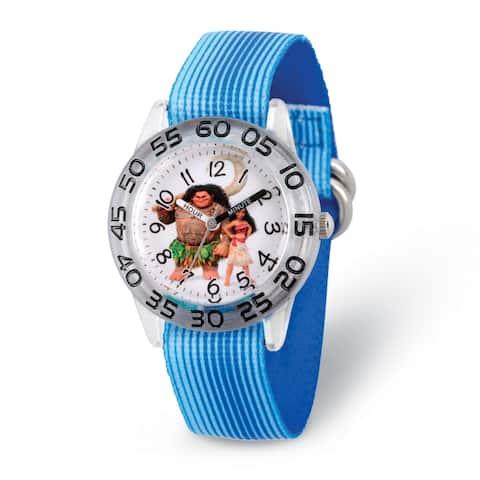 Disney Kids Moana Characters Blue Strap Acrylic Time Teacher Watch by Versil