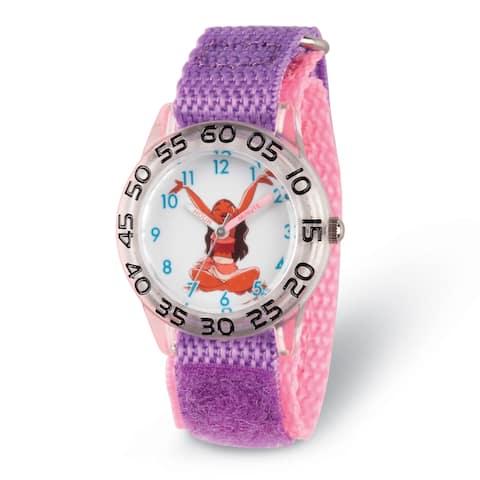Disney Kids Moana Acrylic Purple Strap Time Teacher Watch by Versil
