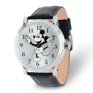 Versil Disney Adult Size Black Strap Mickey Mouse with Moving Arms Watch