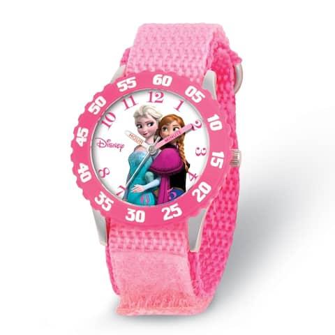 Disney Kids Elsa/Anna Pink Strap Time Teacher Watch by Versil