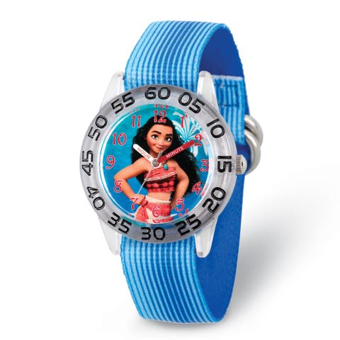Disney Kids Moana Blue Strap Acrylic Time Teacher Watch by Versil