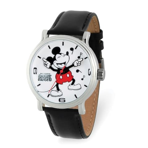 Disney Adult Laughing Mickey Mouse Black Leather Band Watch by Versil