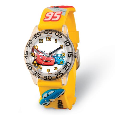 Disney Kids Cars Yellow Strap Acrylic Time Teacher Watch by Versil