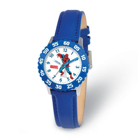 Marvel Spiderman Blue Leather Strap Time Teacher Watch by Versil