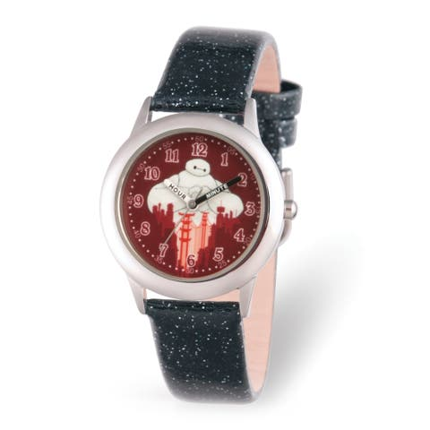 Versil Disney Kids Big Hero 6 Black Leather Time Teacher Watch