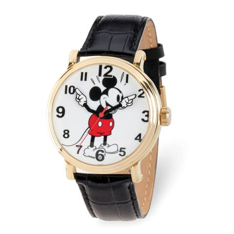 Disney Adult Gold-tone Mickey Mouse Black Leather Band Watch by Versil