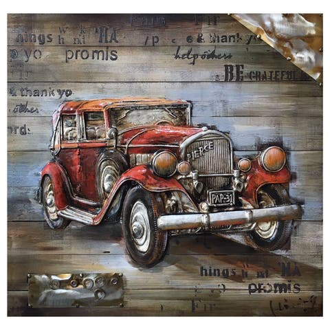 "Yosemite Home Décor ""Vintage Car Show Collection"" Wood Wall Décor"