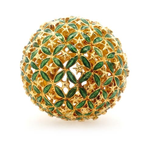 18K Yellow Gold Enameled Giant Flower Dome Ring (Size 5)