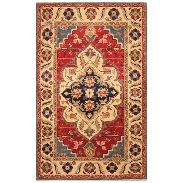 Handmade Kazak Wool Rug (Afghanistan) - 3'1 x 4'10