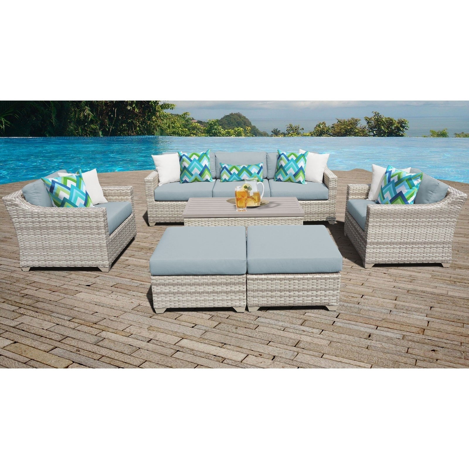 Fairmont Patio Furniture.Fairmont 8 Piece Outdoor Wicker Patio Furniture Set 08c