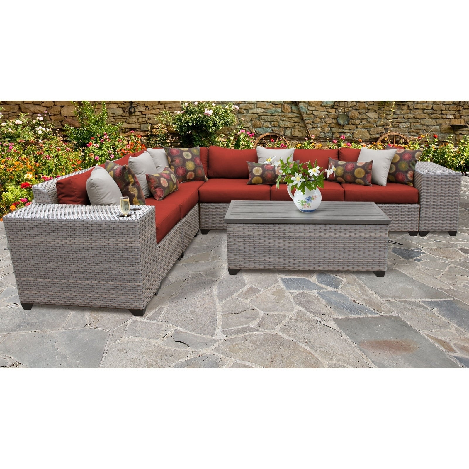 Details About Florence 9 Piece Outdoor Wicker Patio Furniture Set 09b