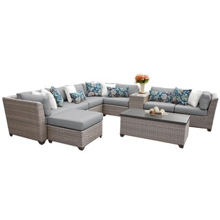 Florence Outdoor Wicker 10 Piece Sectional Seating Group with Cushion