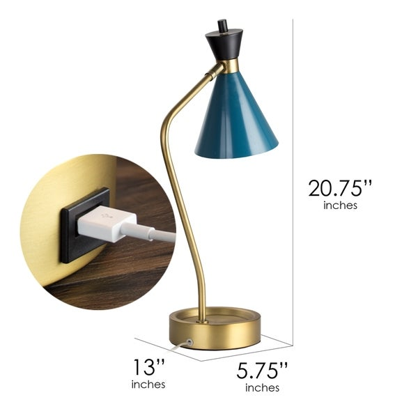 American Art Decor Metal Desk Lamp with USB Charger