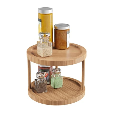 Lazy Susan - All-Natural Bamboo Two Tier 10 In. Diameter Turntable Kitchen, Pantry and Vanity Organizer by Classic Cuisine