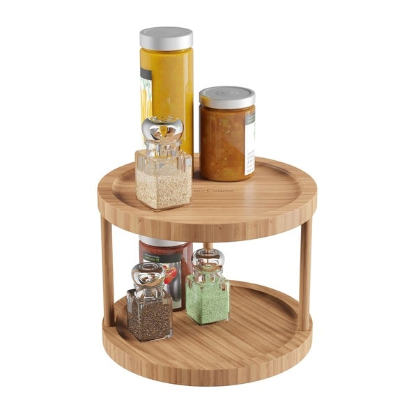 Lazy Susan All Natural Bamboo Two Tier 10 In Diameter Turntable Kitchen