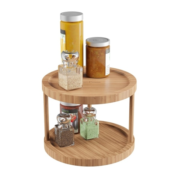 Lazy Susan – All-Natural Bamboo Two Tier 10 In. Diameter Turntable Kitchen, Pantry and Vanity Organizer by Classic Cuisine