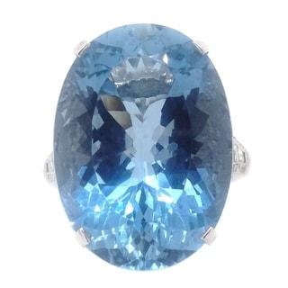 Platinum 17 65 CT Aquamarine Diamond Cocktail Ring G H VS1 VS2