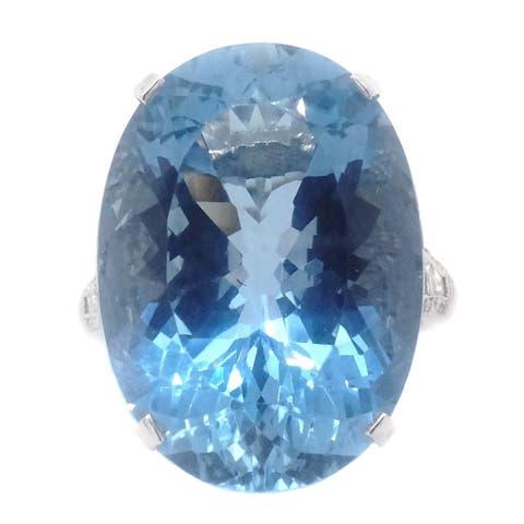 Platinum 17.65 CT Aquamarine Diamond Cocktail Ring (G-H,VS1-VS2)