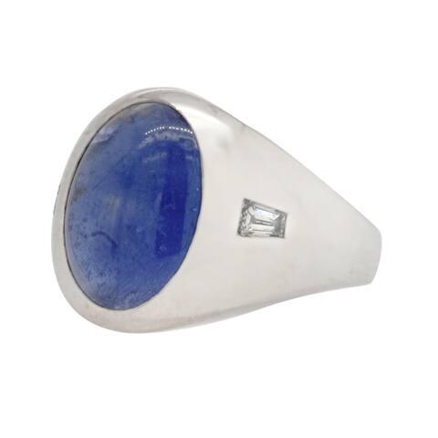 14K White Gold Star Sapphire Diamond Pinky Ring (G-H,VS1-VS2)