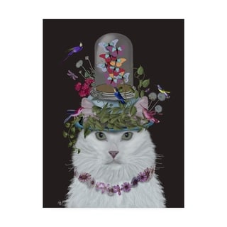 Fab Funky 'Cat, White With Butterfly Bell Jar, On